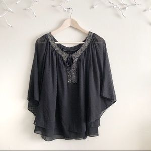 Zara Basic Black Texture Peasant crop blouse